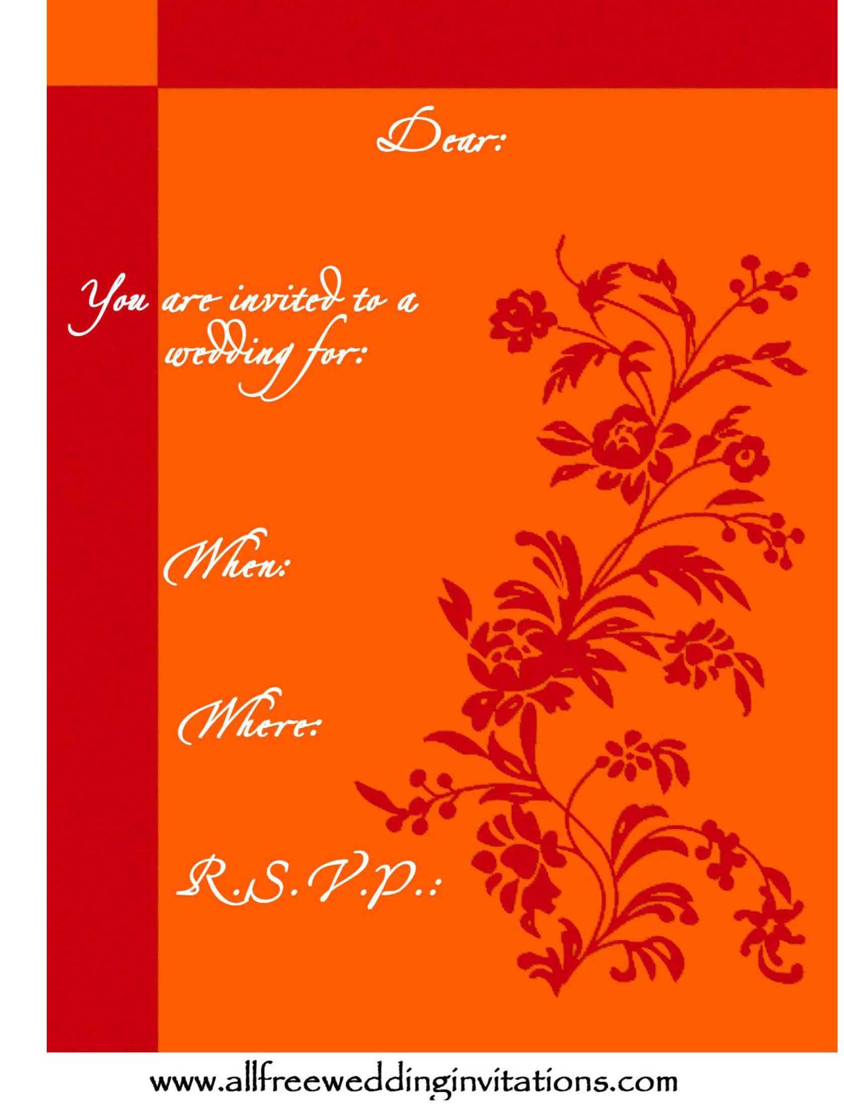 Classic Wedding Invites Templates- ALL FREE Wedding Invitations