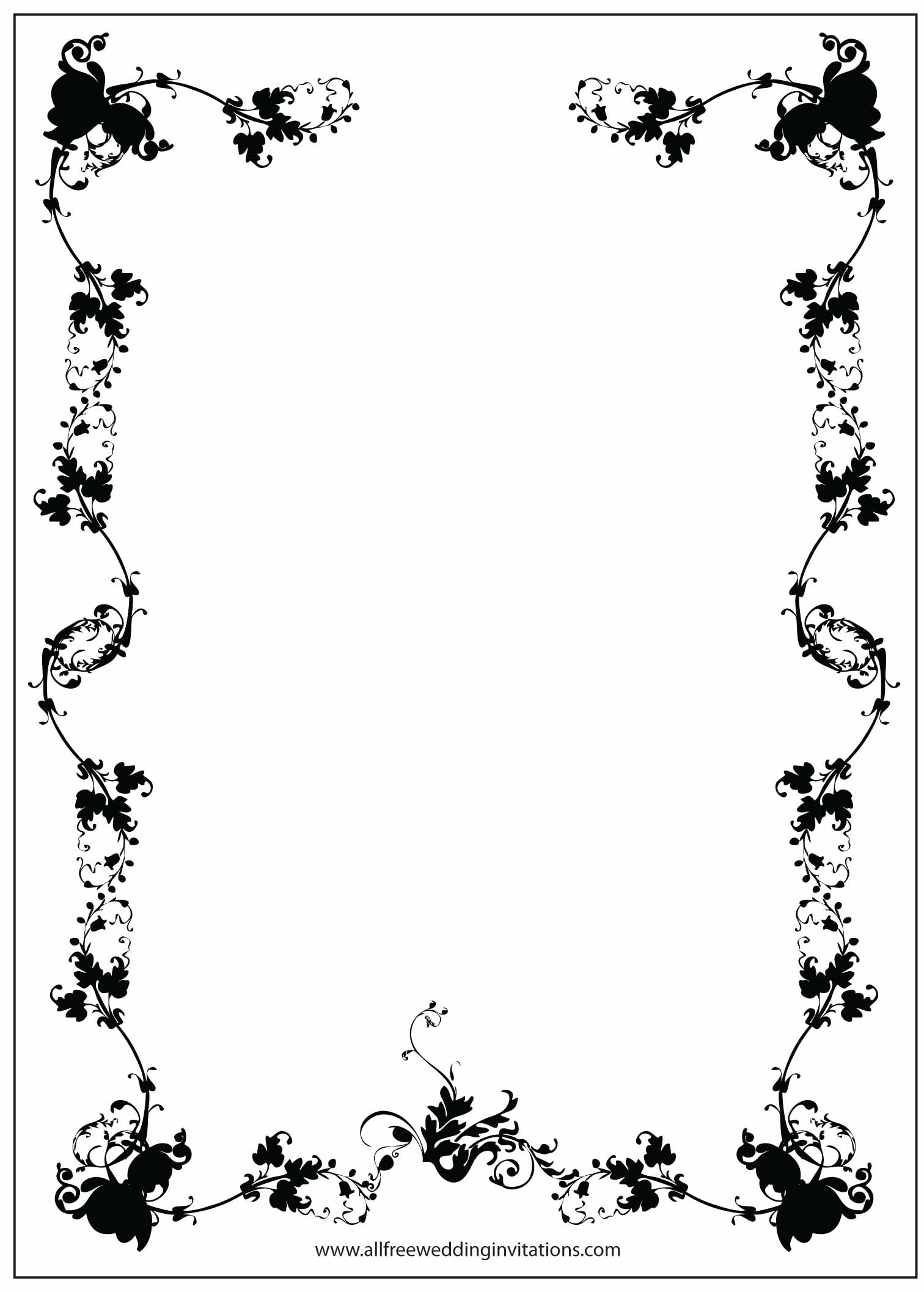 black border wedding invitation floral