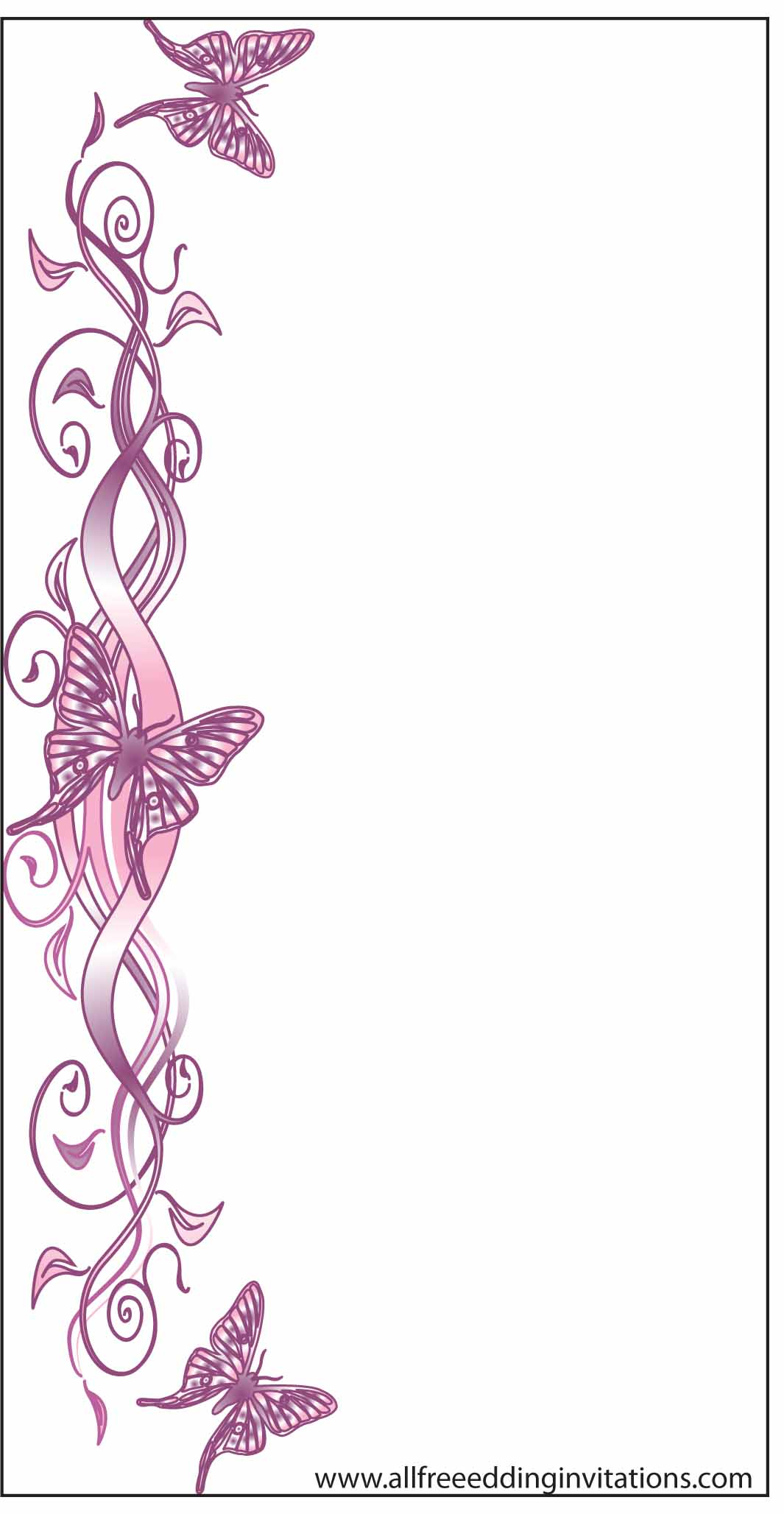 pink butterly flower wedding invitaton free